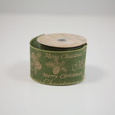 Merry Christmas Ribbon Green/Gold