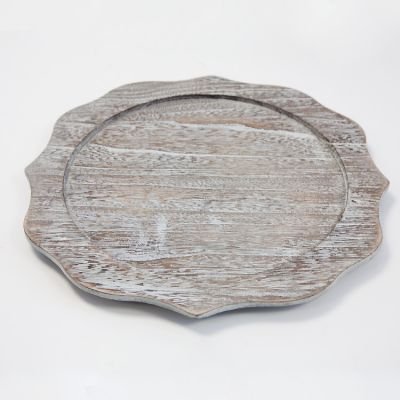 WOODEN BAROQUE CHARGER PLATE GREY