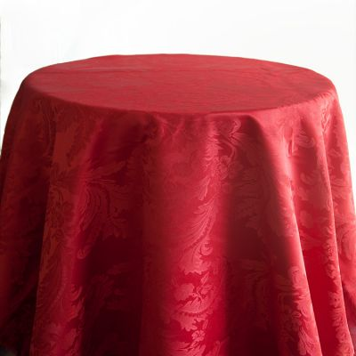 Damask Table Cloths 132 Round - Red