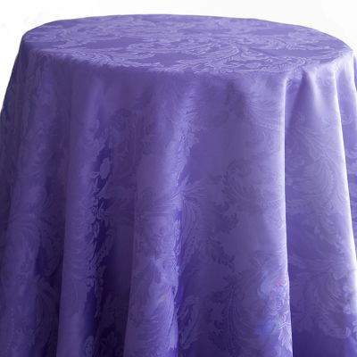 Damask Table Cloths 132 Round - Ultra Violet