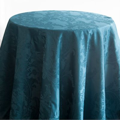 Damask Table Cloths 132 Round - Petrol Blue