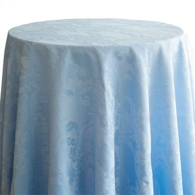 Damask Table Cloths 132 Round - Pale Blue