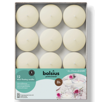BOLSIUS PROFESSIONAL MAXI FLOATING CANDLES 12 PACK IVORY