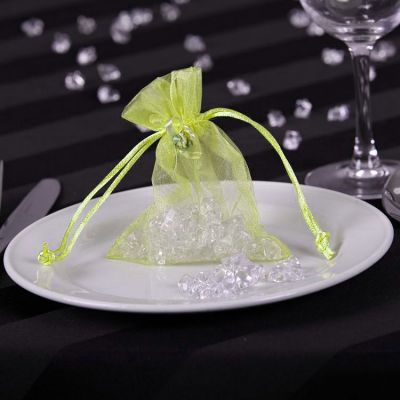 Sheer Organza Favour Bags - Lime