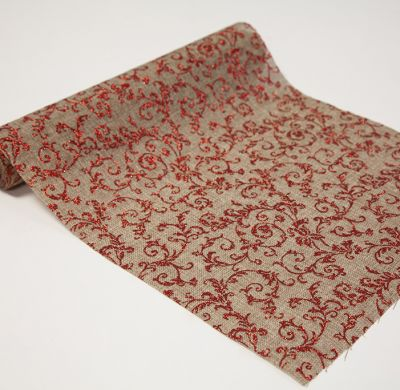 Red Glitter Swirls Hessian Roll