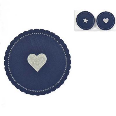 CHRISTMAS FELT PLACEMATS NAVY/SILVER 6PACK