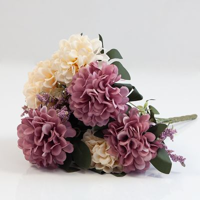 HYDRANGEA BUNCH NO 08 CREAM/MUAVE