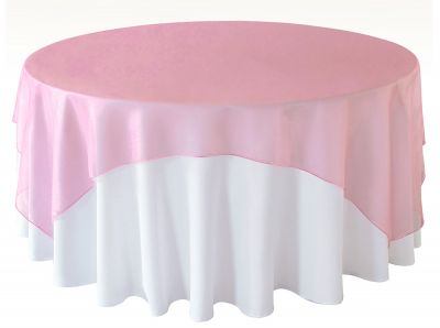 Organza Overlay 90 x 90 - Peppermint Pink