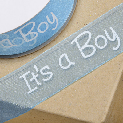 ORGANZA RIBBON 'IT'S A BOY' 25MM X 25M