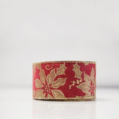 Christmas Poinsettia Velvet Ribbon - Red/Gold
