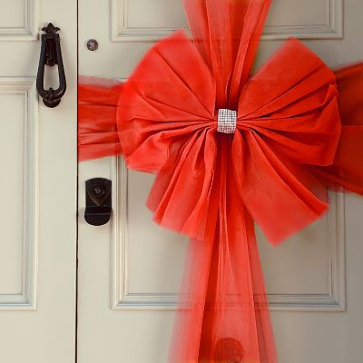 Tulle Door Bow - Red