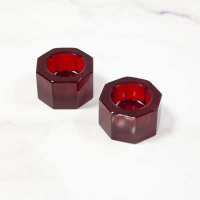 CRYSTAL HEXAGON CANDLE HOLDER PACK OF 2 RED