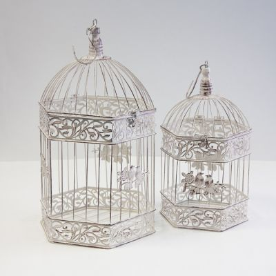 Vintage Rustic Birdcage Hexagon Set 2