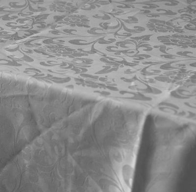Damask Silver Dining Table Cloth 150cm X 200cm