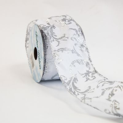 WIRED ORGANZA RIBBON 63MMX10YD SILVER DAMASK DESIGN
