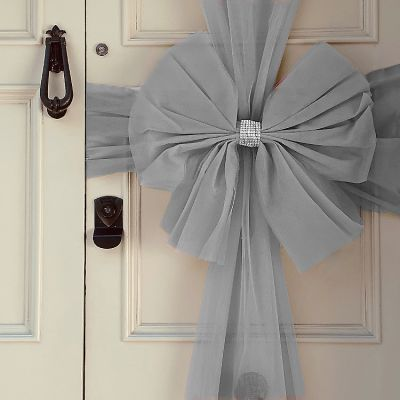 Tulle Door Bow Silver