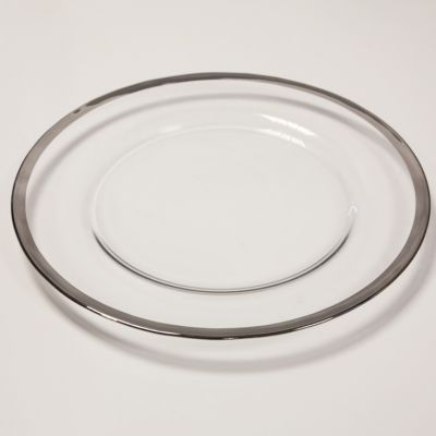 METALLIC RIM CHARGER PLATE SILVER