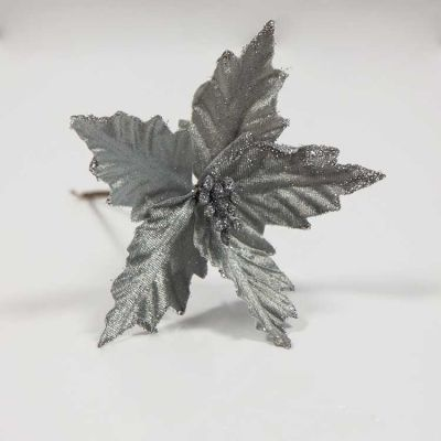 VELVET POINSETTIA PICK SILVER 6PACK