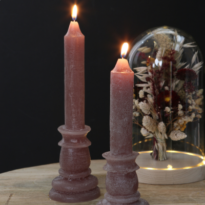 Rustic Candle With Base Taupe 20cm