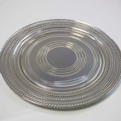 Charger Plate Dot Design - Silver