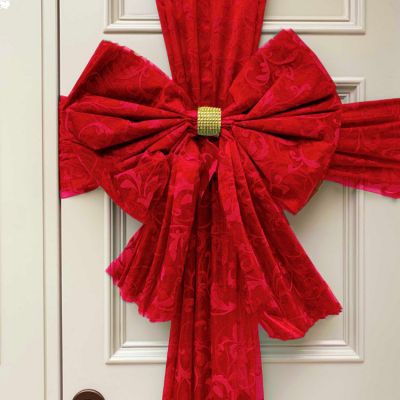 DECOR ESSENTIALS DOOR BOW FLOCK RED