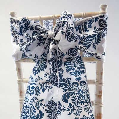 DAMASK TAFFETA SASH - NAVY/WHITE