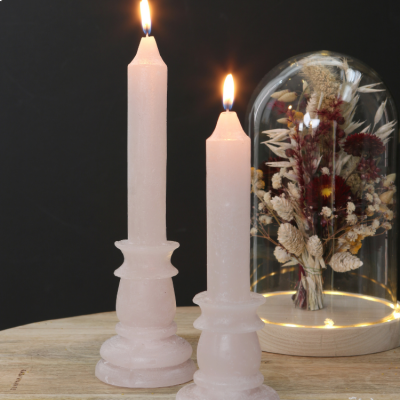 Rustic Candle With Base White/Pink 20cm