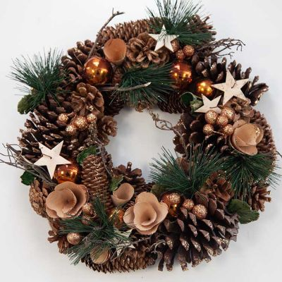 CHRISTMAS COPPER BAUBLE WREATH G
