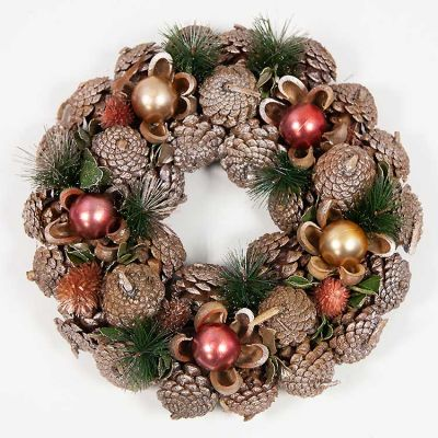 CHRISTMAS BRONZE PINECONE WREATH H
