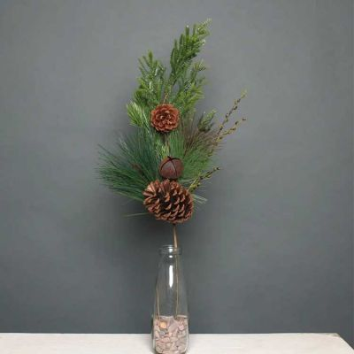 CHRISTMAS PINE CONE & BELL SPRAY