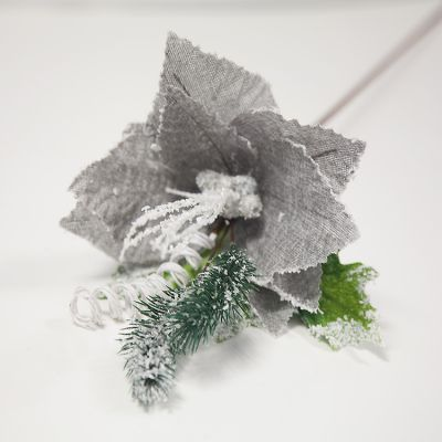 CHRISTMAS FLOWER WITH BERRIES GREY