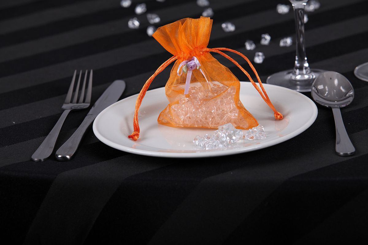 Organza Favour Bags with Rose Buds - Orange