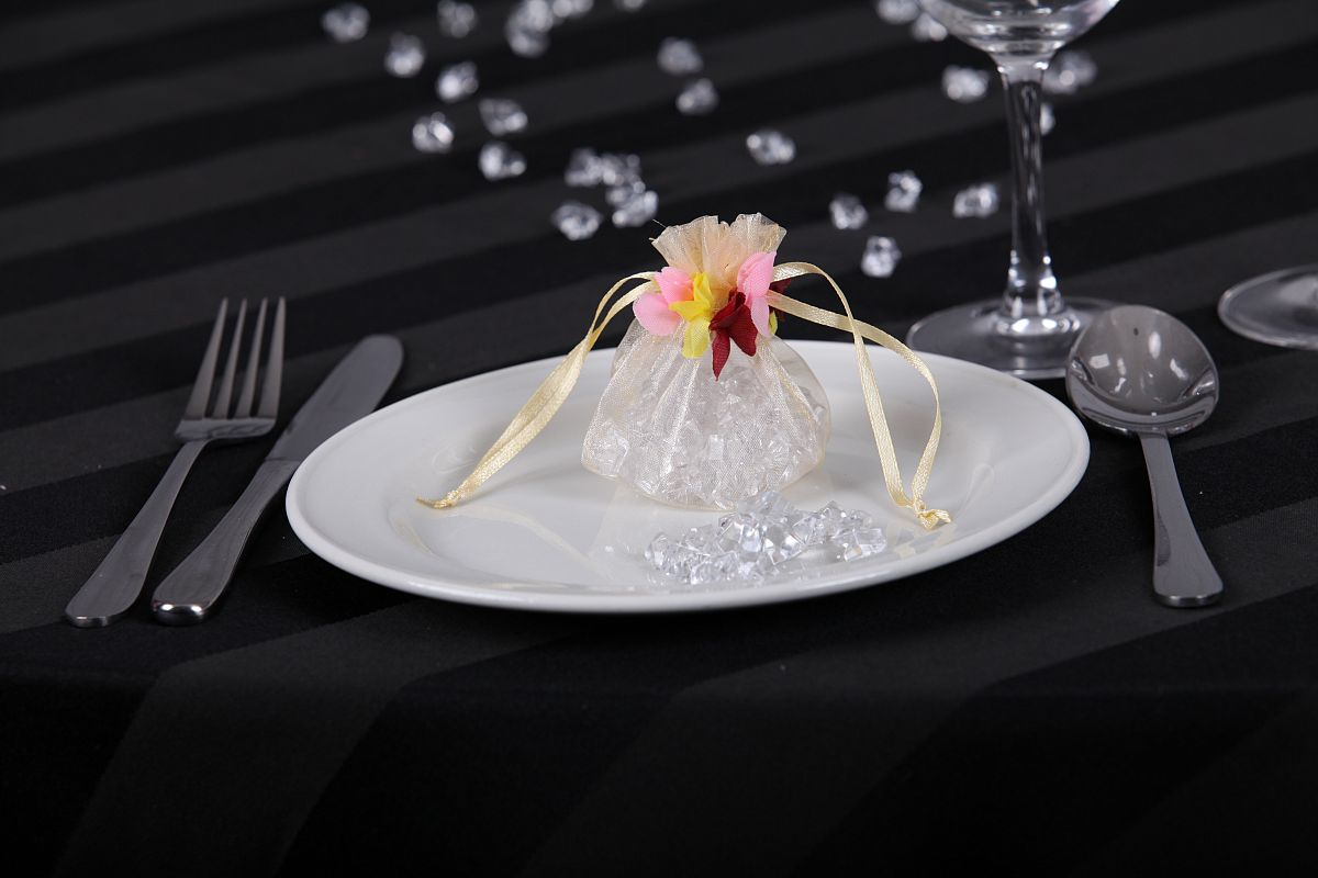 Floral Organza Favour Bags - Ivory