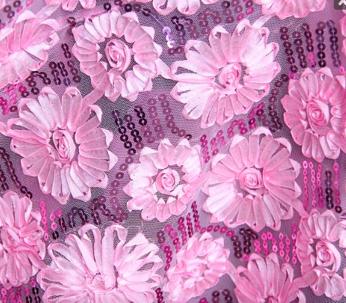 Flower Sequin Cloths 90x90 - Pink