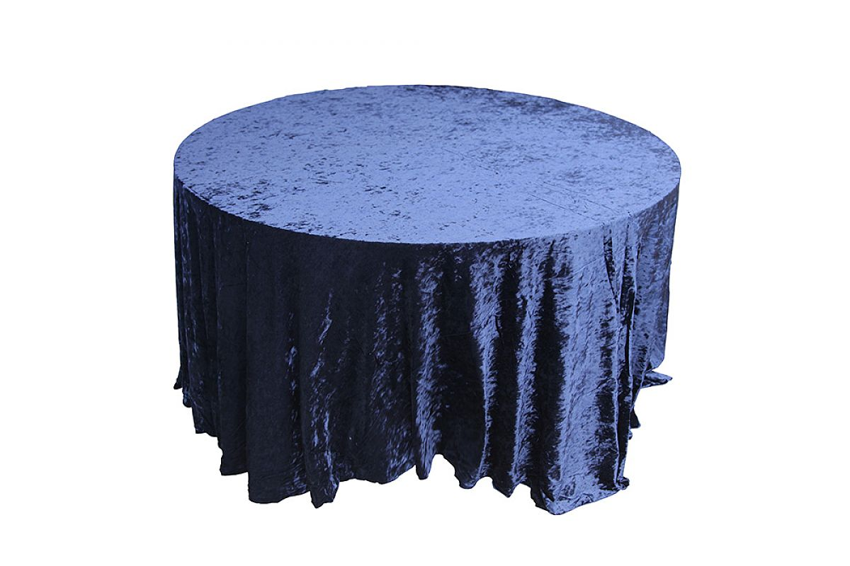 Crushed Velvet Table Cloths 132 Round - Navy