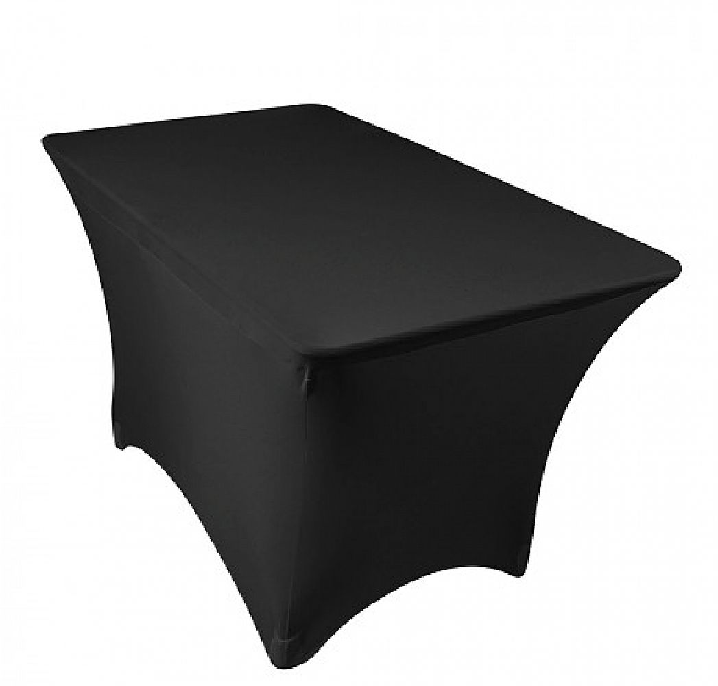 Spandex Lycra 4ft Rectangle Table Cloth - Black