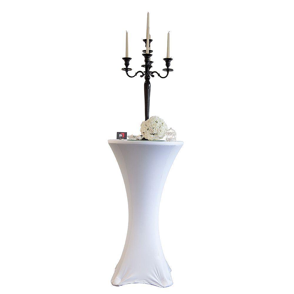 Buy lycra cocktail table covers size a white from for Cocktail tables measurements