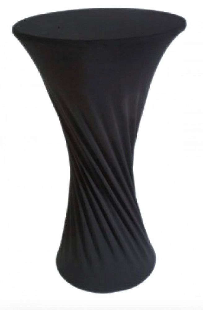 Lycra Cocktail Table Covers - Round Base - Black