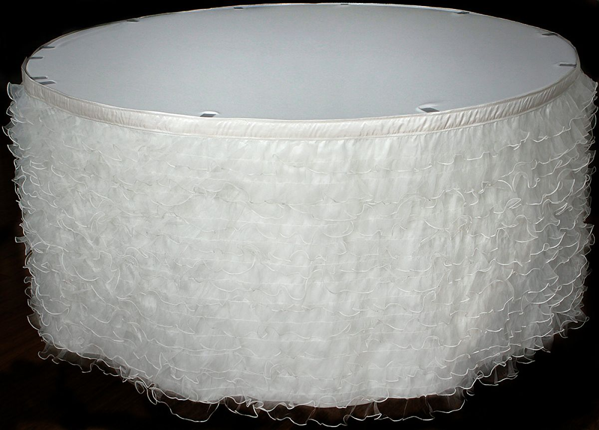 Ruffled Organza Table Skirt 14ft - Ivory