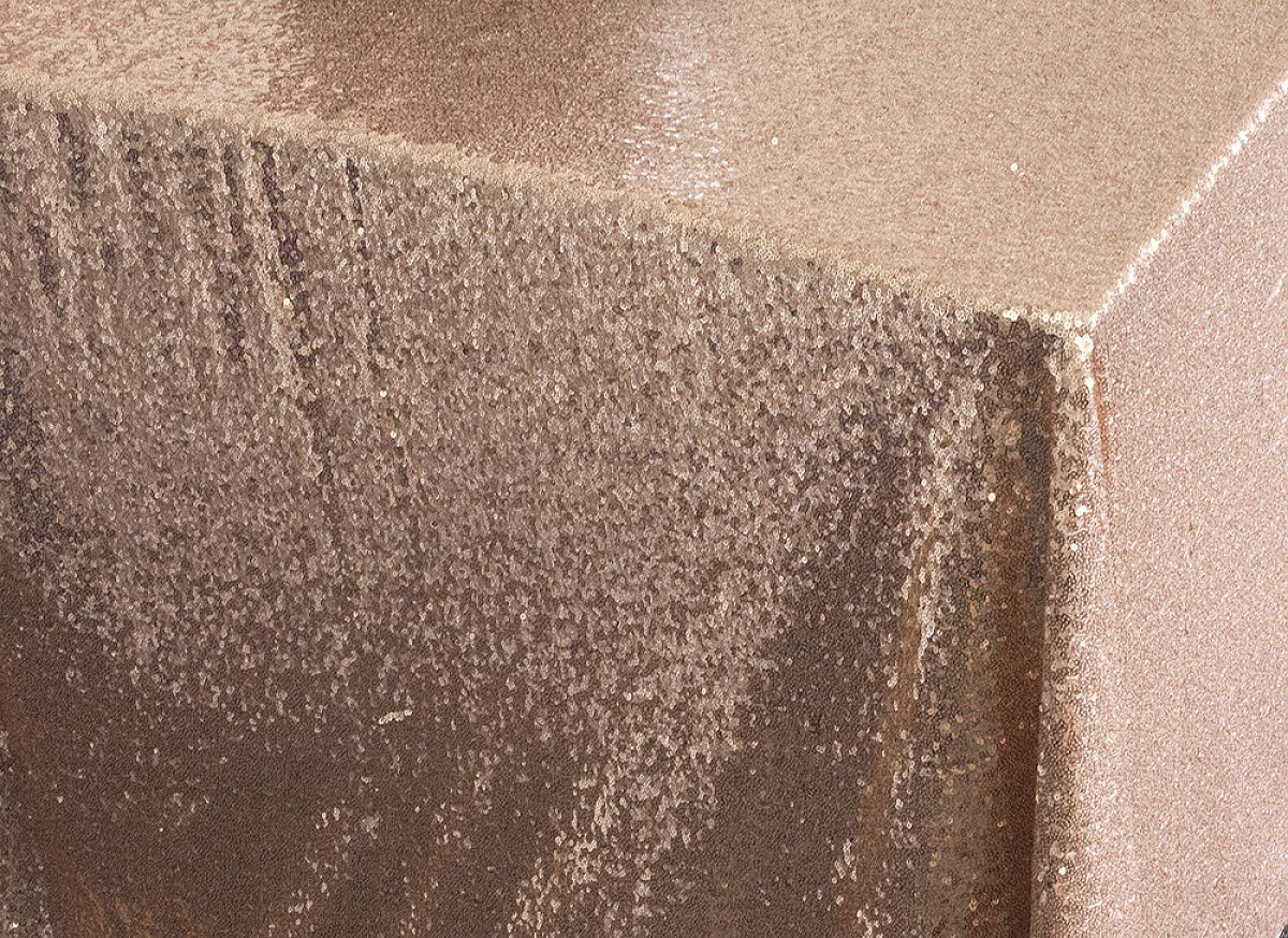 Sequin Table Cloth 70x144 - Blush Pink