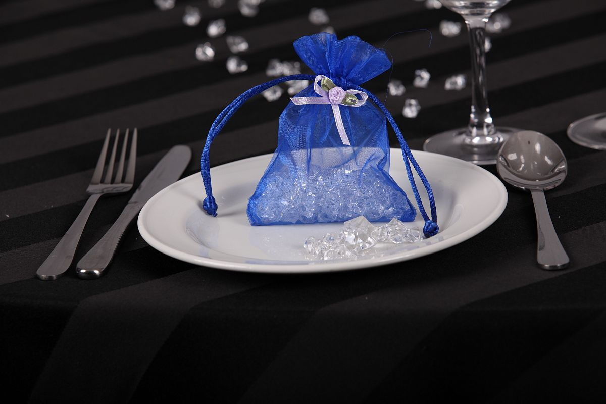 Sheer Organza Favor Bags with Rose Bud - Blue