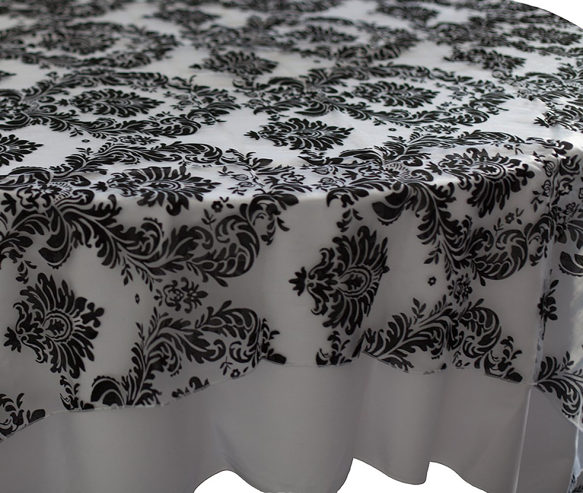 Flock Organza Overlays - White/Black