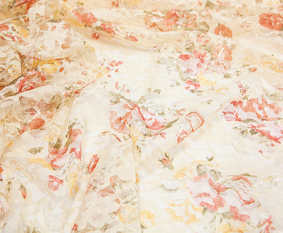 Lace Fabric - Vintage Rose Print