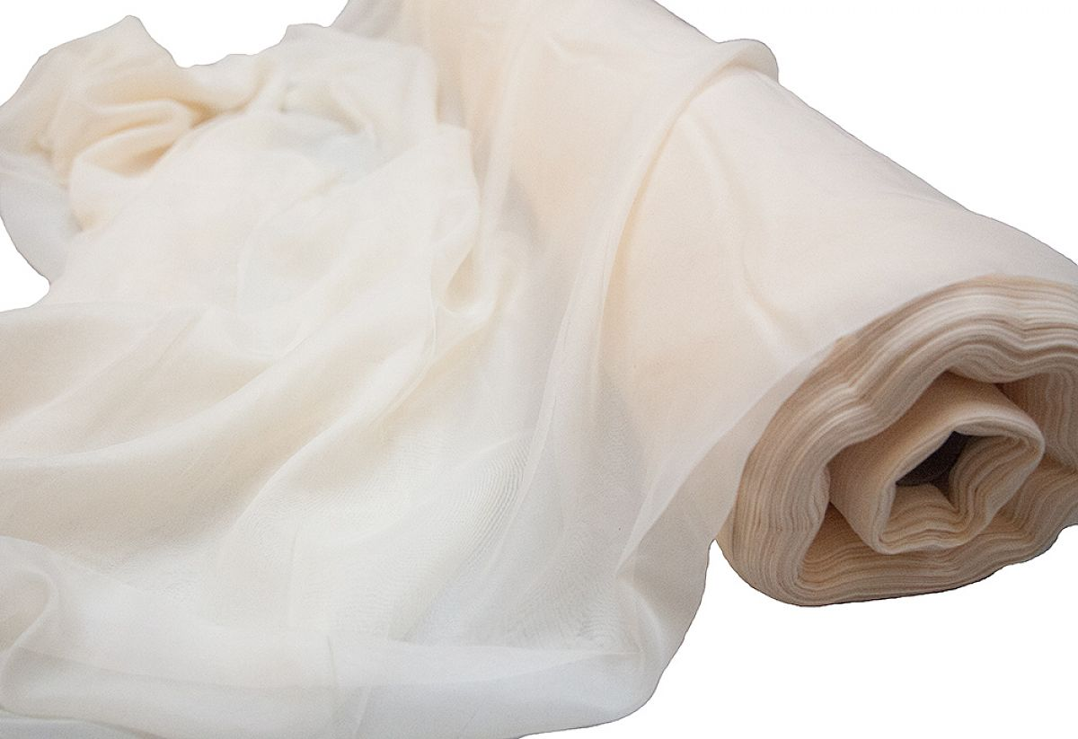 Voile Fabric 2.8M Wide FR 50 M Roll - Ivory