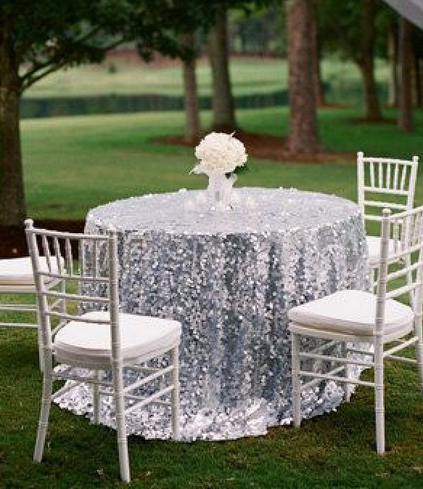 Sequin Table Cloths 120 - Silver
