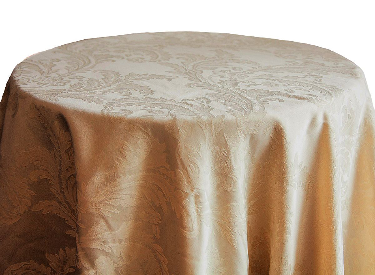 Damask Table Cloths 132 Round - Gold