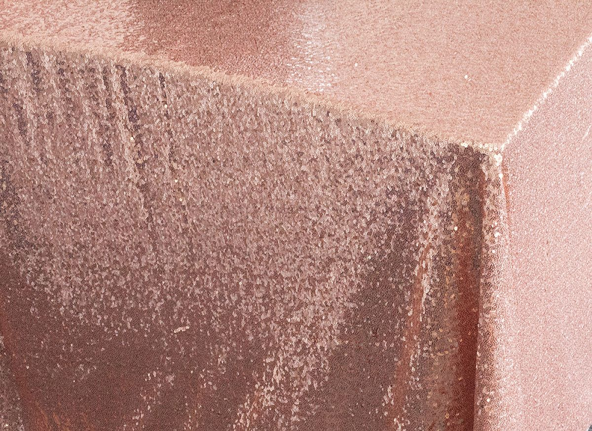 Rose Gold 90 x 90 Sequin Table Cloth
