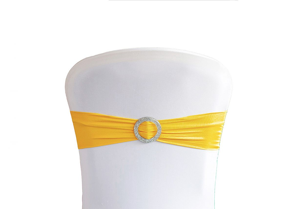 Lycra Chair Bands With Buckle - Yellow
