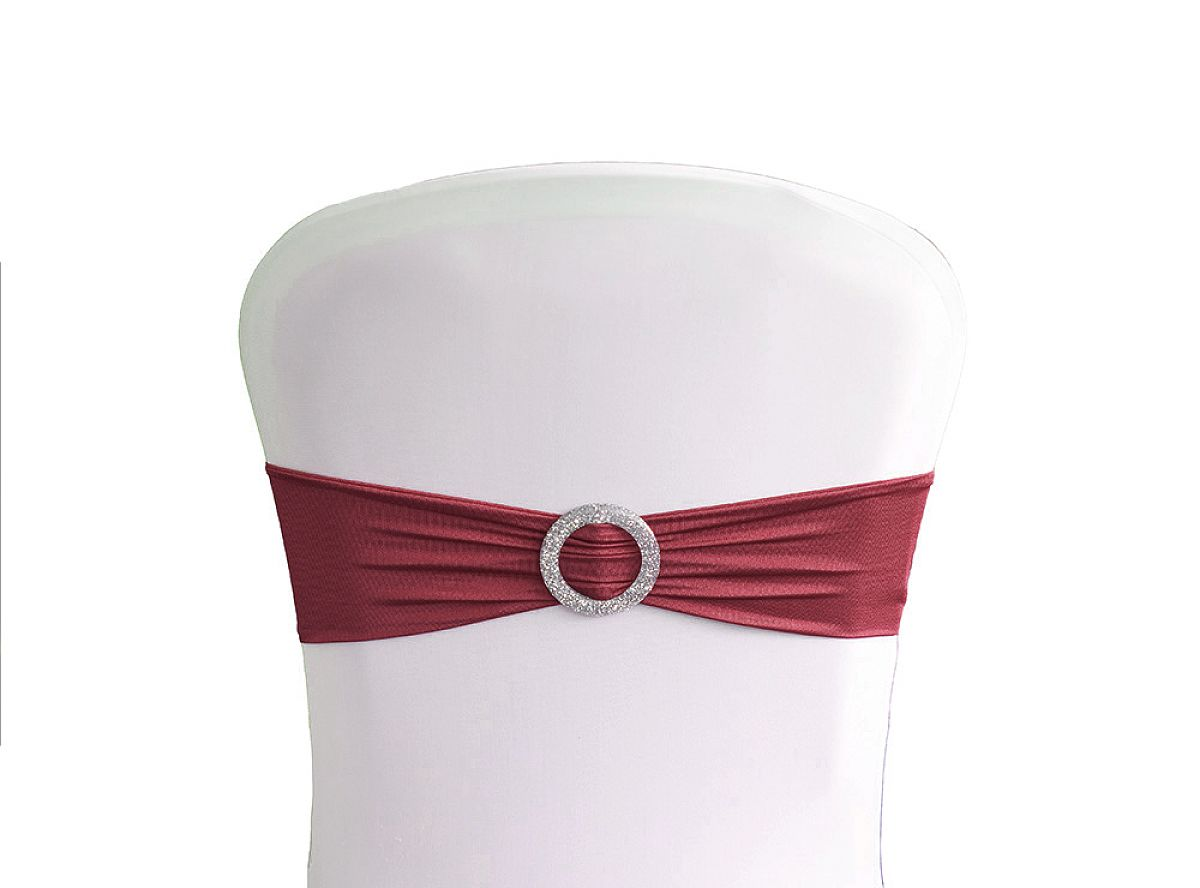 Lycra Chair Bands With Buckle - Garnet