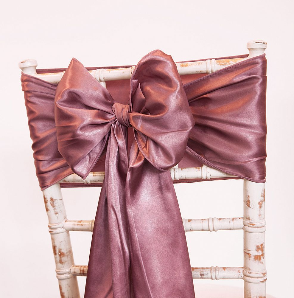 Buy Satin Sash Mauve From Chair Cover Depot